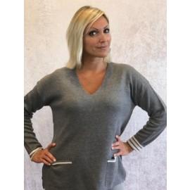 Pullover V-Ausschnitt grau