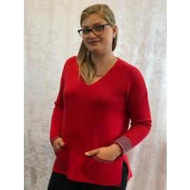 Pullover V-Ausschnitt rot