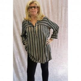 Bluse V-Ausschnitt ¾ Arm Druck schwarz multicolor