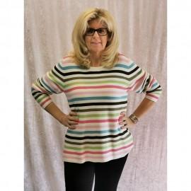 Pullover Rundhals 1/1 Arm Ringel khaki multicolor