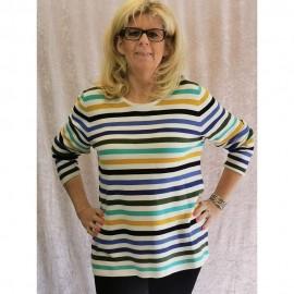 Pullover Rundhals 1/1 Arm Ringel multicolor