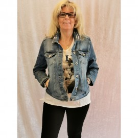 Jacke Kragen 1/1 Arm Jeans -Schmuck jeans mittelblau