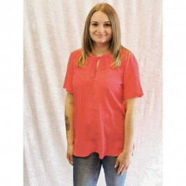 Bluse Rundhals ½ Arm Materialmix hummer