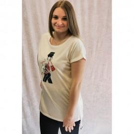 T-Shirt Rundhals ohne Arm überschnittene Schulter ecru multicolor