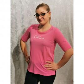 T-Shirt Rundhals ½ Arm Motiv pink/weiss