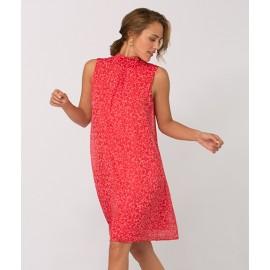 Kleid Stehkragen ohne Arm Druck lachs multicolor
