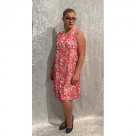 Kleid Rundhals ohne Arm Druck chili multicolor