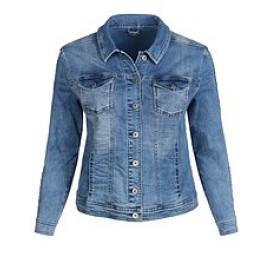 Jacke Kragen 1/1 Arm Jeans Strass jeans mittelblau
